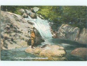 Pre-chrome FISHING Tassajara Hot Springs - near Carmel & Big Sur CA AF5719