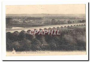Agen Old Postcard The canal bridge over the Garonne