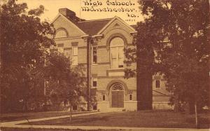 Manchester Iowa~Arch Door & Fanlight Window~High School c1910 Sepia CU Williams