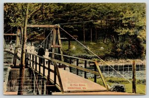 Sheboygan Wisconsin~Families on Pine Grove Park Suspension Bridge~Deuss c1910