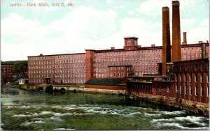 Saco Maine~York Manufacturing Co Textile Mills~Factory Waterfront~c1910
