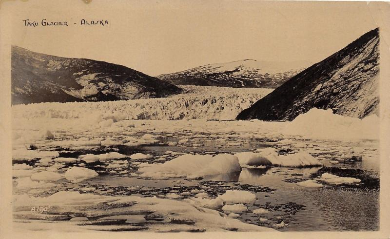 Alaska~Taku Glacier~Ice Chunks Floating in Water~1931 RPPC RPO Postmark