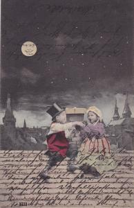 Boy and girl sitting on the roof drinking from a bottle, full moon smiling, P...