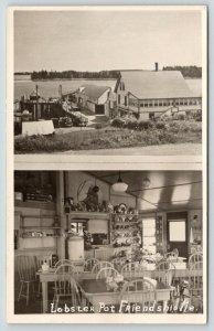 Friendship Maine~Lobster Pot Seafood Restaurant~Inside & Out~Dock~Cars~1946 RPPC