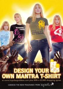 Postcard Impulse Goddess Design Your own Mantra T-Shirt Promotional Advert Card