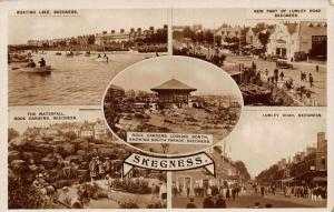 Skegness The Waterfall Rock Gardens Boating Lake Lumley Road Postcard