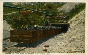 PA - Anthracite Region. Loaded Coal Cars Drawn from Slope at Coal Mine (Minin...