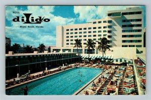 Miami Beach FL- Florida, Hotel Dilido, On the Ocean, Aerial, Chrome Postcard