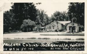 RPPC Modern Cabins Motel and Gas Station at Jacksonville IL, Illinois - Roadside