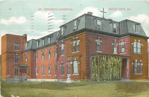 Sioux City Iowa~St Vincents Hospital~Mansard Roof~1909 Postcard