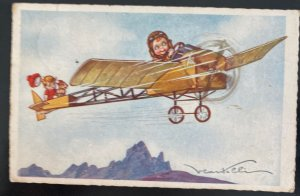 1930 Netherlands Picture Postcard Early Aviation Children In Flight