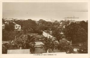 fiji islands, SUVA, Glimpse of the Harbour (1930s) RPPC