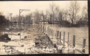 Ohio? Indiana?~Big Four Railroad Tracks Bulkhead~1913 Flood~Real Photo Postcard