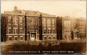GREAT BEND, Kansas RPPC Photo Postcard CENTRAL HIGH SCHOOL Building View 1920