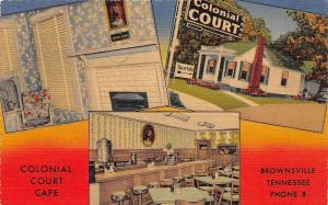 A11/ Brownsville Tennessee Tn Postcard 3View Interior Colonial Court Cafe Linen