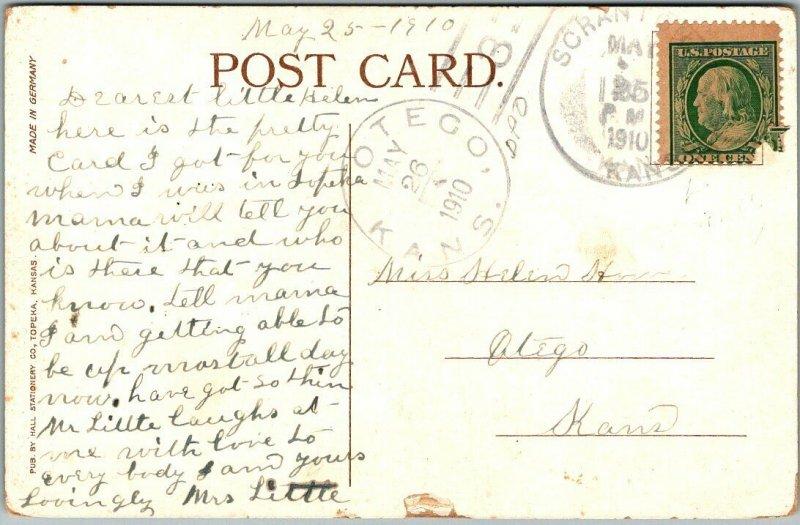 Topeka, Kansas Postcard A.T.&S.F. HOSPITAL Building / Street View 1910 Cancel