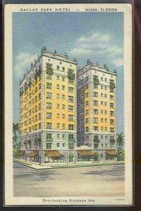 pc822 postcard Miami Hotel Florida Dallas Park 1934 postally used