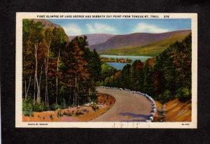 NY Lake George Sabbath Day Point Tongue Mt Trai Postcard