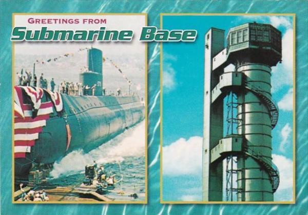 Connecticut New London Sumarine Base Showing U S S Seawolf and Submarine Esca...