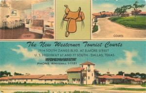 Dallas Texas~New Westerner Tourist Courts & Lobby~1940s Linen Roadside Motel