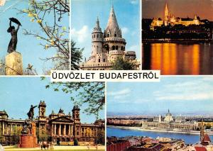 Hungary Udvozlet Budapestrol Greetings from Budapest multiviews Statue Town hall