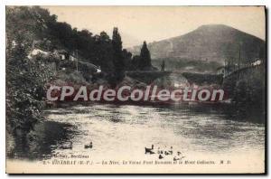 Old Postcard Bidarray Basses Pyrenees Nive Old Roman Bridge and Mount Gakueta