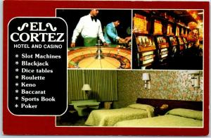 Las Vegas, Nevada Postcard EL CORTEZ HOTEL Casino Slots Roulette Room View 1970s