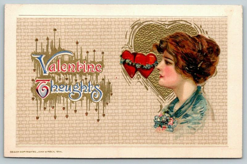 John Winsch Valentine Thoughts Calligraphy~Pretty Redhead on Gold Heart~Embossed