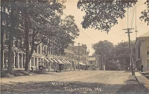 Thomaston ME Main Street Horse & Wagons Storefronts RPPC Postcard