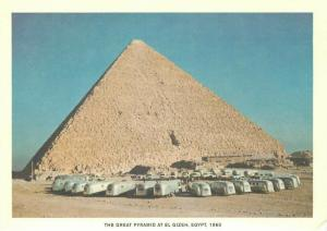 Airstream Trailer at Great Pyramid of Giza Egypt in 1960 Repro Postcard