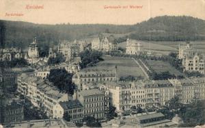 Czech Republic Karlsbad Parkstrasse Gartenzeile mit Westend 02.22