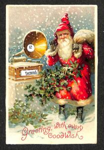 Christmas Santa Claus Red Robed Mechanical Date Wheel Postcard
