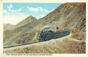 Thru Carriso Gorge, San Diego & Arizona Railway, California CA, White Border