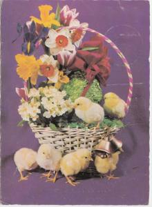 Chicks in and around basket with flowers, 1975 used Postcard