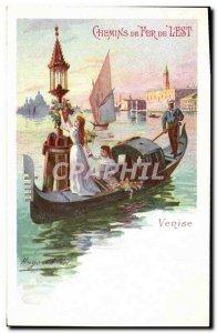 Postcard Old Train Railways l & # 39Est Venice gondola
