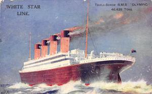 White Star Line Ship Postcard Old Vintage Steamer Antique Post Card stamp on ...