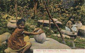 PANAMA, 1900-10s ; Native Girls Mealing Corn