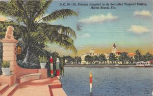 Maimi Beach Florida~St Francis Hospital~Palm Tree by Stairway in Foreground~1947