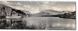 Vintage Panoramic Size Real Photo Wales Postcard Llyn Padarn & Snowdon OS82