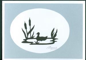 Denmark. 1 Card. Original  Paper Cut . H.C. Andersen.Motif.