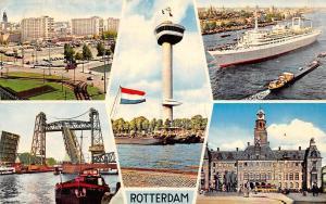 Netherlands Rotterdam souvenir turm tower ship bridge pont schiff 1964