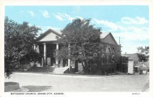 Dodge City Kansas~Methodist Church~Homes Down the Hill~1920s Blue Sky~Postcard