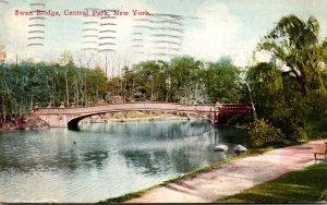 New York City Central Park Swan Bridge 1910