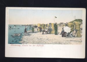 NORDERNEY GERMANY STRAND BEI DER GIFTBUDE SWIMMING BEACH OLD POSTCARD