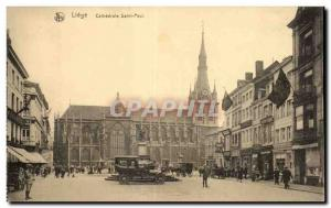 Old Postcard Belgium Liege Cathedral Saint Paul