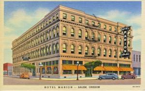 Hotel Marion Salem Oregon OR Old Cars Vintage Linen Postcard E7