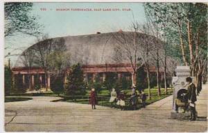Man at Water Fountain Outside Morman Tabernacle, Salt Lake City, Utah 1900-10s