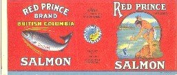 RED PRINCE SALMON - 1930s / CAN LABEL - British Columbia CANADA - CHUM & INDIAN