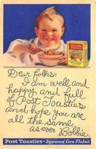 Battle Creek MI Postum Cereal Co. Post-Toasties Cereal Bobbie Postcard