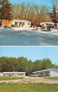Prudenville Michigan~Sun & Sand Motel~Summer Winter Views~Snomobiles~1960s PC